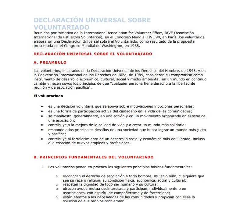 Declaración Universal sobre Voluntariado