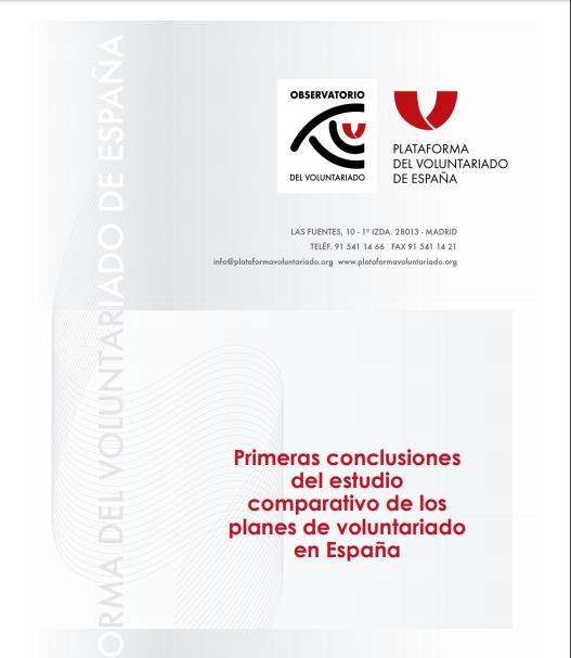 Primeras conclusiones del estudio comparativo de los planes de voluntariado en España
