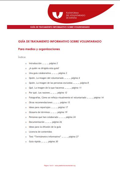 Guía de tratamiento informativo sobre Voluntariado