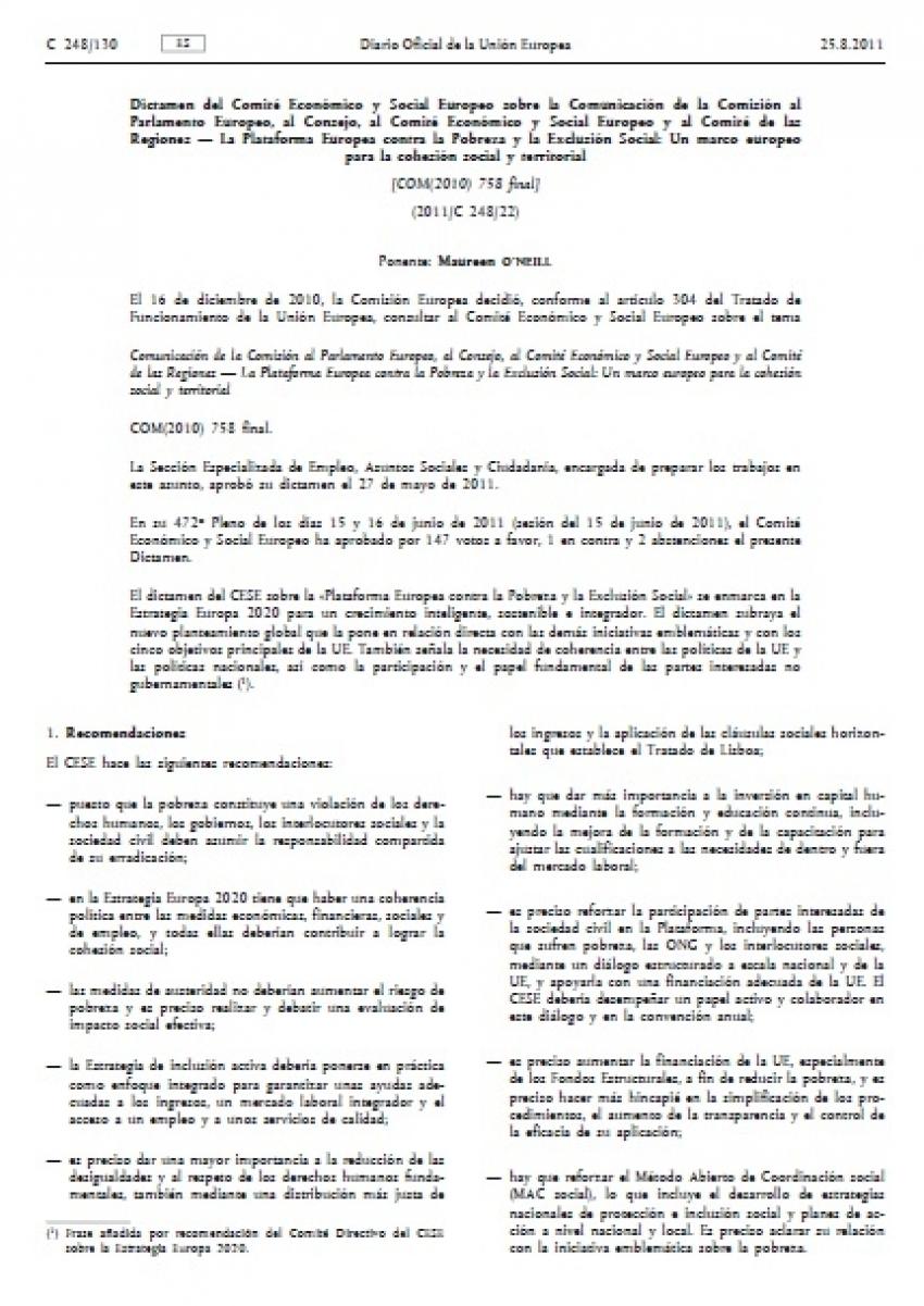 La Plataforma Europea contra la Pobreza y la Exclusión Social: Un marco europeo para la cohesión social y territorial. Dictamen del Comité Económico y Social Europeo