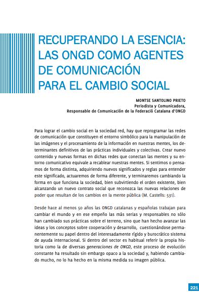 Recuperando la esencia: las ONGD como agentes de comunicación para el cambio social