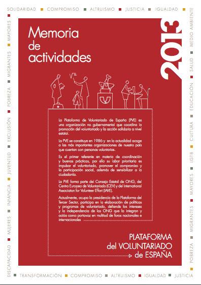 Memoria de actividades 2013. Plataforma del Voluntariado de España