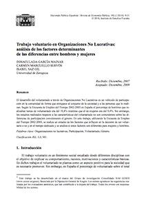 Trabajo voluntario en Organizaciones No Lucrativas: análisis de los factores determinantes de las diferencias entre hombres y mujeres