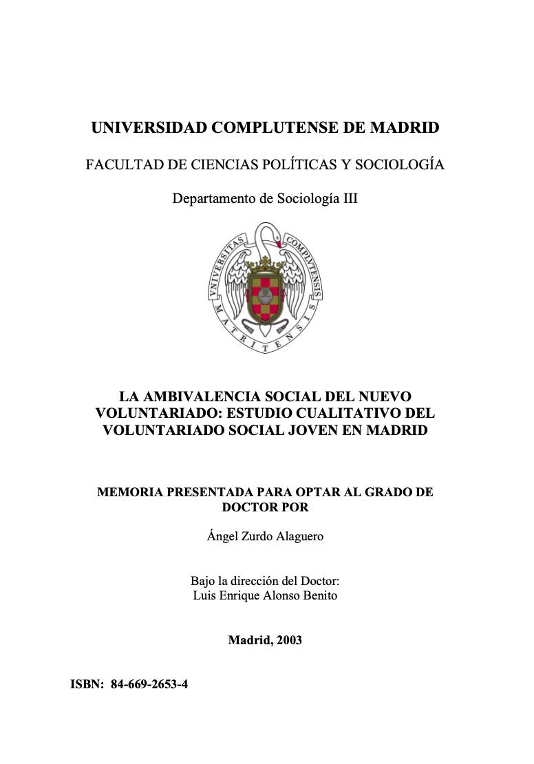 La ambivalencia social del nuevo voluntariado: estudio cualitativo del voluntariado social joven en Madrid