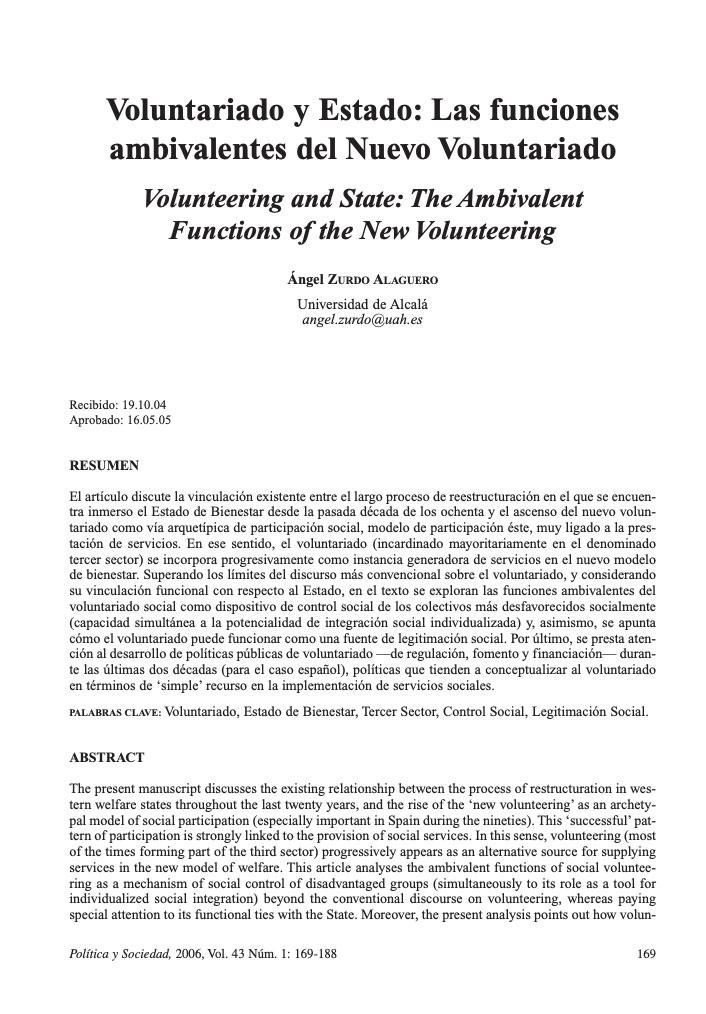 Voluntariado y Estado: Las funciones ambivalentes del nuevo voluntariado