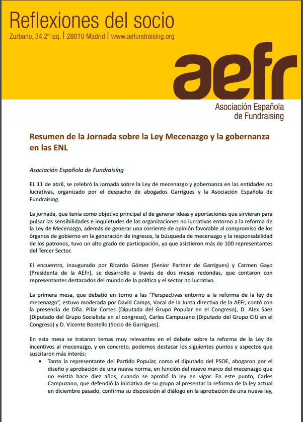 Resumen de la Jornada sobre la ley mecenazgo y la gobernanza en las Entidades No Lucrativas