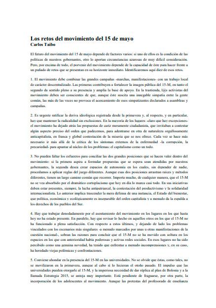 Los retos del movimiento del 15 de mayo