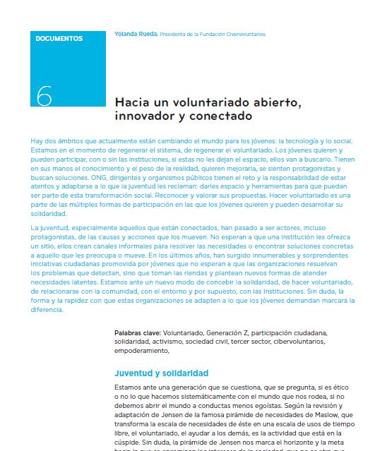 Hacia un voluntariado abierto, innovador y conectado