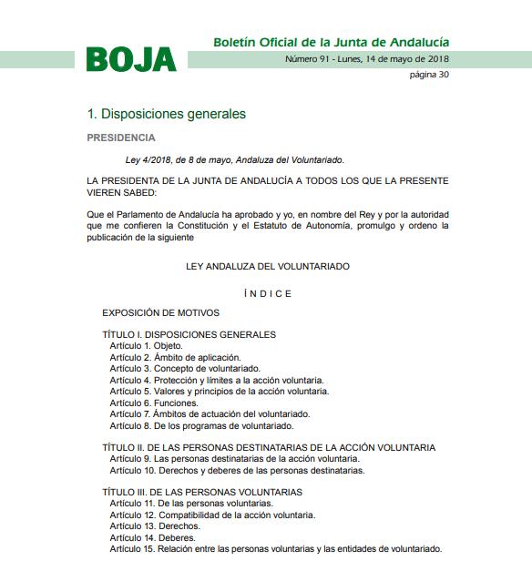 Ley 4/2018, de 8 de mayo, Andaluza del Voluntariado