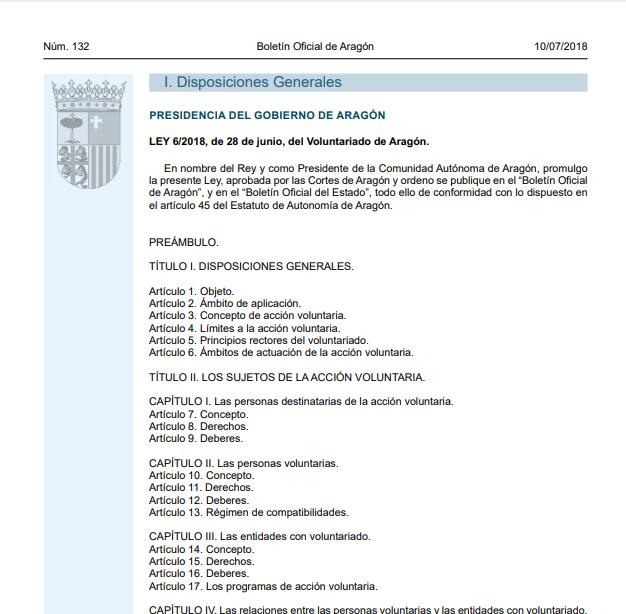 Ley 6/2018, de 28 de junio, del Voluntariado de Aragón