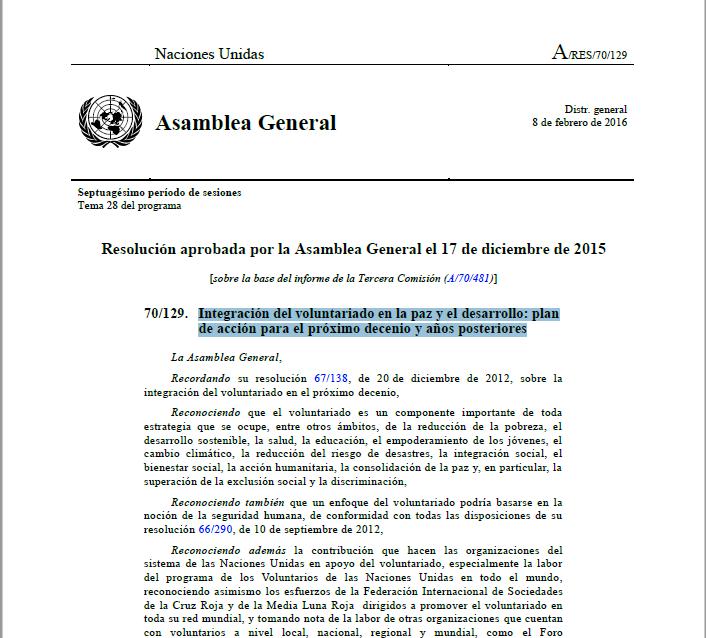 Integración del voluntariado en la paz y el desarrollo: plan de acción para el próximo decenio y años posteriores