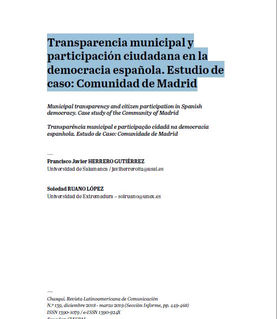 Transparencia municipal y participación ciudadana en la democracia española. Estudio de caso: Comunidad de Madrid