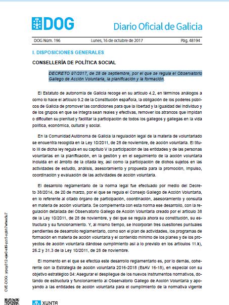 DECRETO 97/2017, de 28 de septiembre, por el que se regula el Observatorio Gallego de Acción Voluntaria, la planificación y la formación