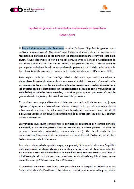 Equitat de gènere a les entitats i associacions de Barcelona