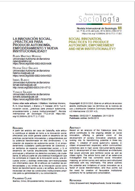 La Innovación Social, ¿Prácticas para producir autonomía, empoderamiento y nueva institucionalidad?