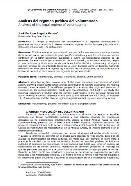 Análisis del Régimen Jurídico del voluntariado