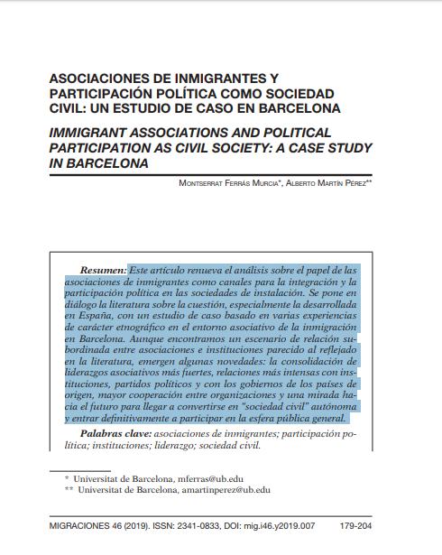 Asociaciones de inmigrantes y participación política como sociedad civil: Un estudio de caso en Barcelona