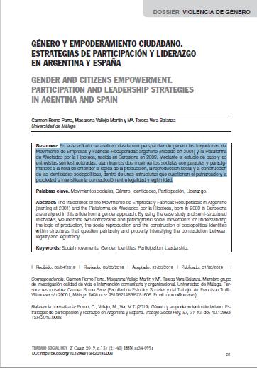 Género y empoderamiento ciudadano: Estrategias de participación y liderazgo en Argentina y España