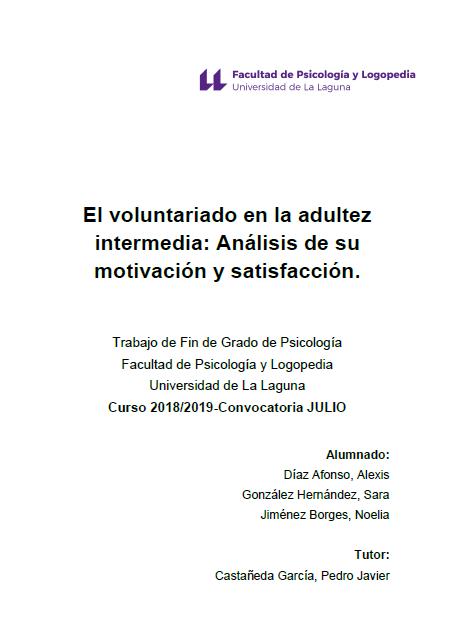 El voluntariado en la adultez intermedia: Análisis de su motivación y satisfacción