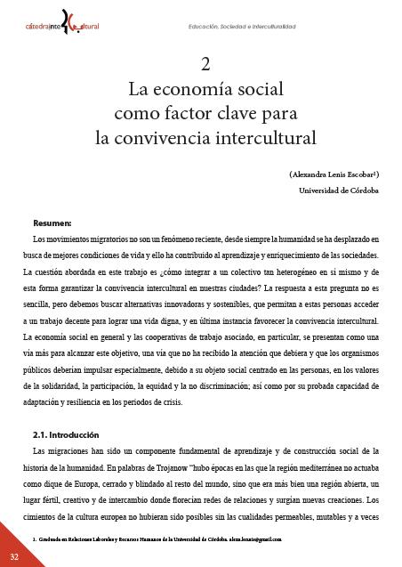 La economía social como factor clave para la convivencia intercultural