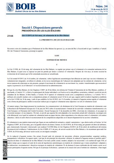 Llei 11/2019, de 8 de març, de voluntariat de les Illes Balears