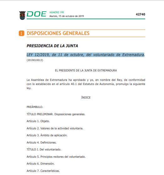 LEY 12/2019, de 11 de Octubre, del Voluntariado de Extremadura