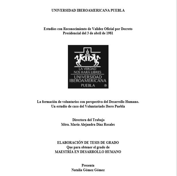 La formación de voluntarios con perspectiva del Desarrollo Humano: Un estudio de caso del voluntariado Ibero Puebla