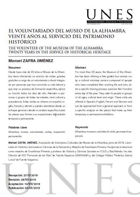 El Voluntariado del Museo de la Alhambra: Veinte años al servicio del Patrimonio Histórico