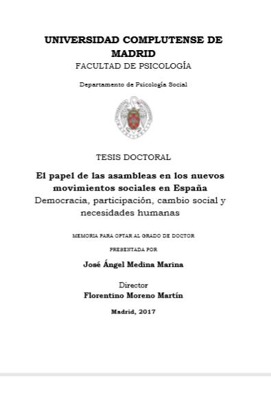 El papel de las asambleas en los nuevos movimientos sociales en España: Democracia, participación, cambio social y necesidades humanas