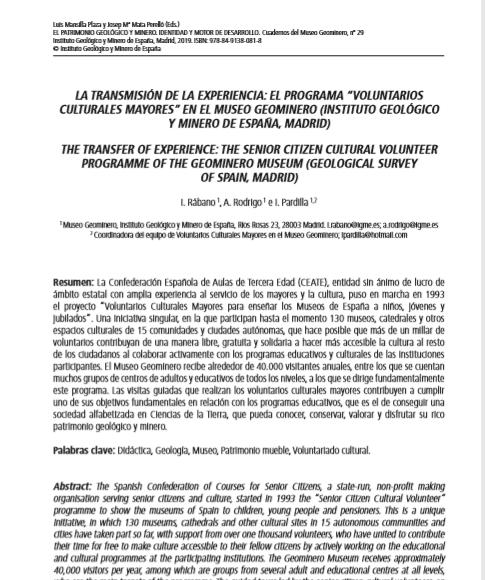 """La Transmisión de la Experiencia: el Programa """"Voluntarios Culturales Mayores"""" en el Museo Minero (Instituto Geológico y Minero de España)"""