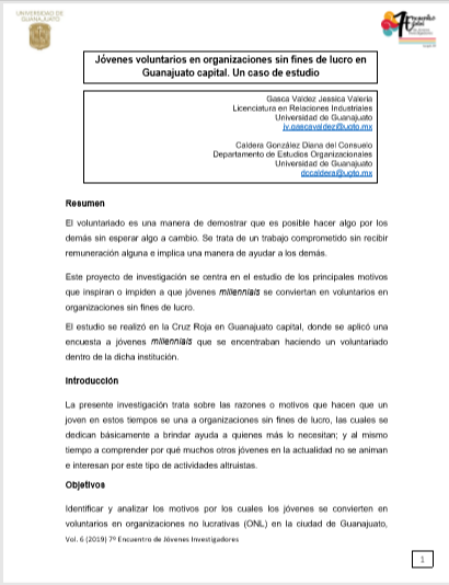 Jóvenes Voluntarios en organizaciones sin fines de lucro en Guanajuato capital:  Un caso de estudio