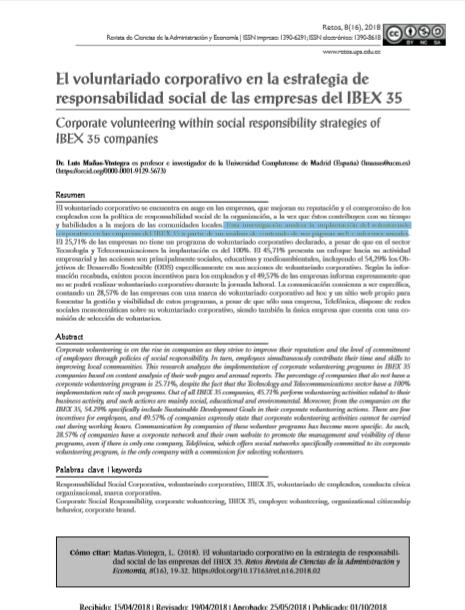 El Voluntariado Corporativo en la estrategia de Responsabilidad Social de las Empresas del IBEX 35