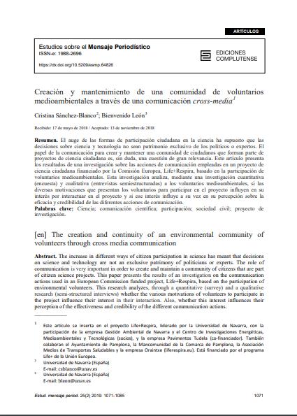 Creación y mantenimiento de una comunidad de voluntarios medioambientales a través de una comunicación cross-media