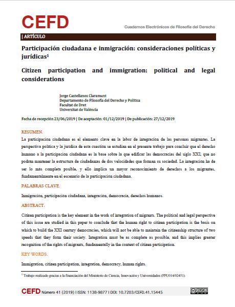 Participación ciudadana e inmigración: Consideraciones políticas y jurídicas