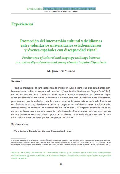 Promoción del intercambio cultural y de idiomas entre voluntarios universitarios estadounidenses y jóvenes españoles con discapacidad visual