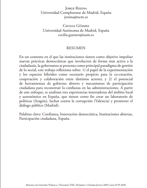 Instituciones abiertas y creación de confianza: Experiencias desde España