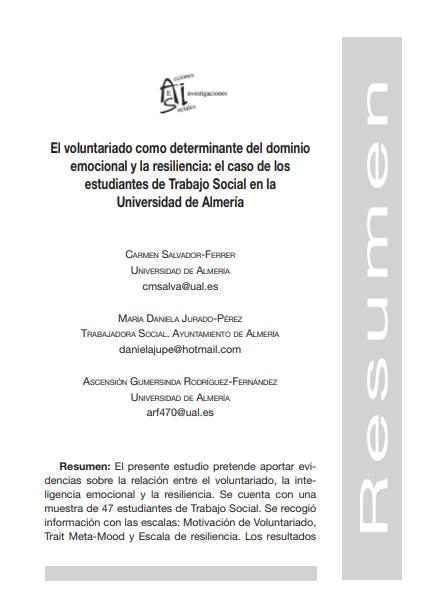 El voluntariado como determinante del dominio emocional y la resiliencia: El caso de los estudiantes de Trabajo Social en la Universidad de Almería