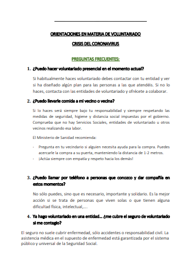 Orientaciones en materia de Voluntariado (Crisis del Coronavirus)