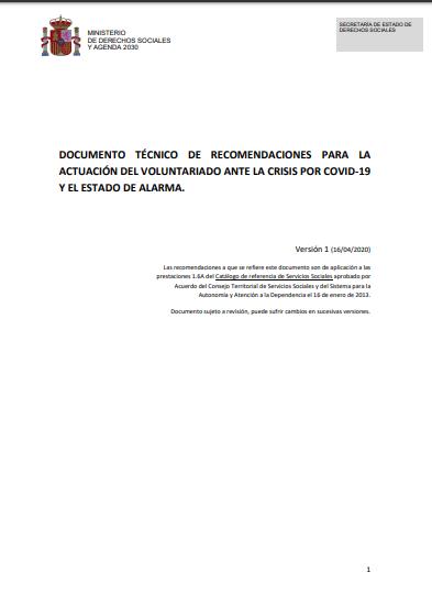 Documento Técnico de Recomendaciones para la actuación del Voluntariado ante la crisis por Covid-19 y el Estado de Alarma
