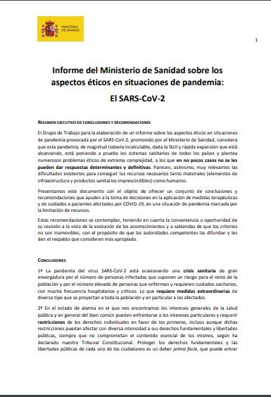 Informe del Ministerio de Sanidad sobre los aspectos éticos en situaciones de pandemia: El SARS-CoV-2