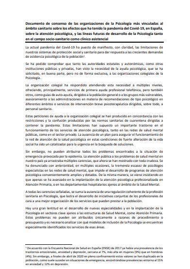 Documento de consenso de las organizaciones de la Psicología más vinculadas al ámbito sanitario sobre los efectos que ha tenido la pandemia del Covid-19