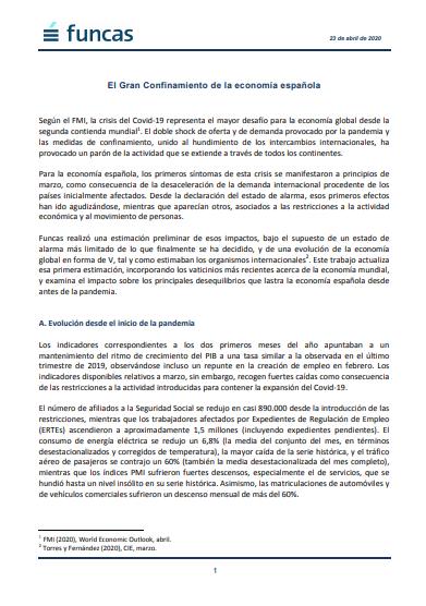 Previsiones para la Economía Española 2020-21: Impacto del COVID-19