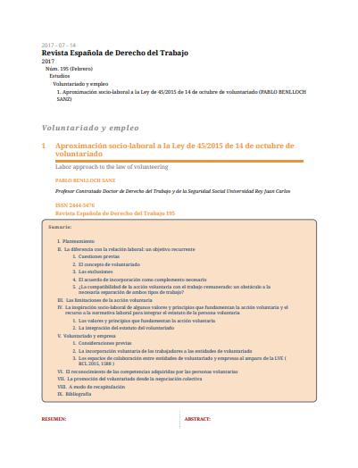 Aproximación socio-laboral a la Ley de 45/2015 de 14 de octubre de voluntariado