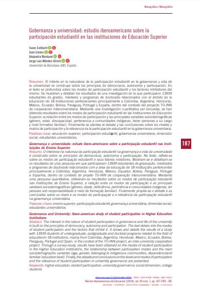 Gobernanza y universidad: Estudio iberoamericano sobre la participación estudiantil en las instituciones de Educación Superior