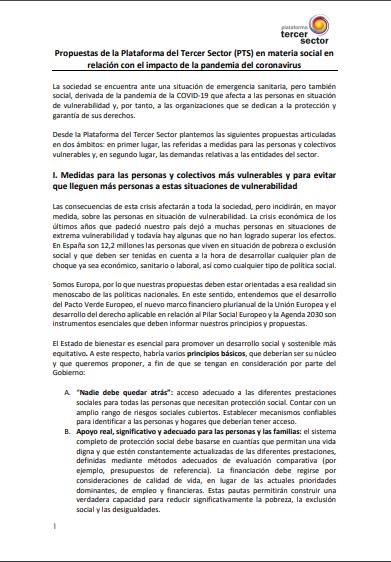 Propuestas de la Plataforma del Tercer Sector (PTS) en materia social en relación con el impacto de la pandemia del coronavirus