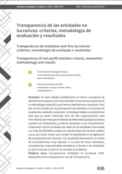 Transparencia de las entidades no lucrativas: Criterios, metodología de evaluación y resultados