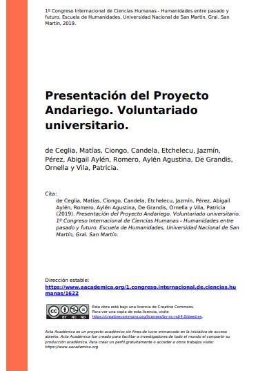 Presentación del Proyecto Andariego (Voluntariado Universitario)