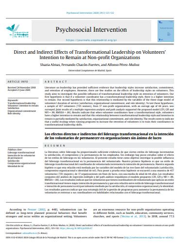 Los efectos directos e indirectos del liderazgo transformacional en la intención de los voluntarios de permanecer en organizaciones sin ánimo de lucro