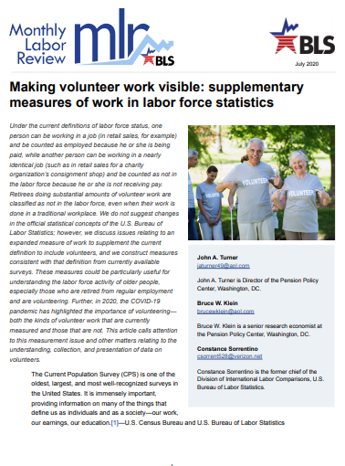 Making volunteer work visible: supplementary measures of work in labor force statistics