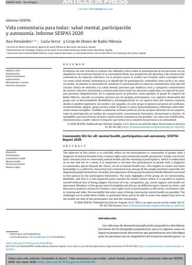 Vida comunitaria para todas: salud mental, participación y autonomía. Informe SESPAS